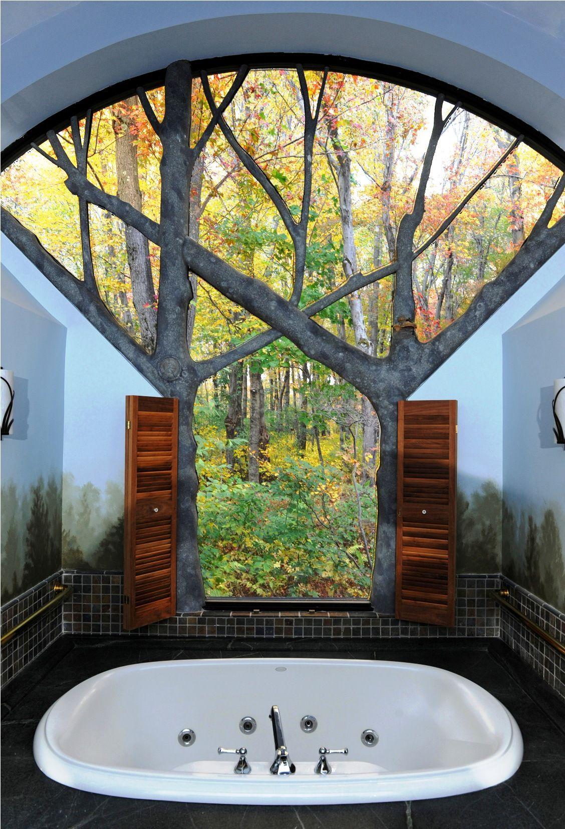 Baum Fenster Mit So Einem Ausblick In Den Wald Aus Der Badewanne Komme Ich Da Nie Wieder Raus Beautiful Bathrooms Architecture Design Home
