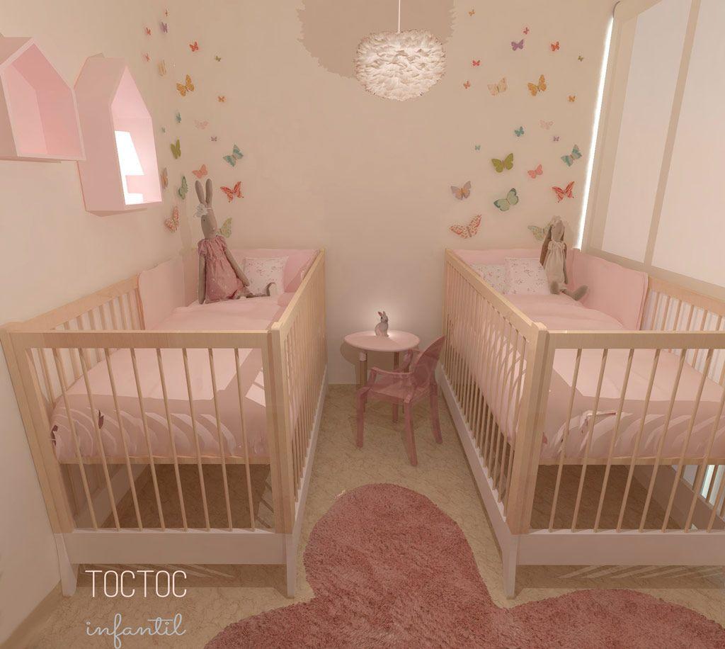Habitación infantil para mellizas con el rosa omnipresente y con ...