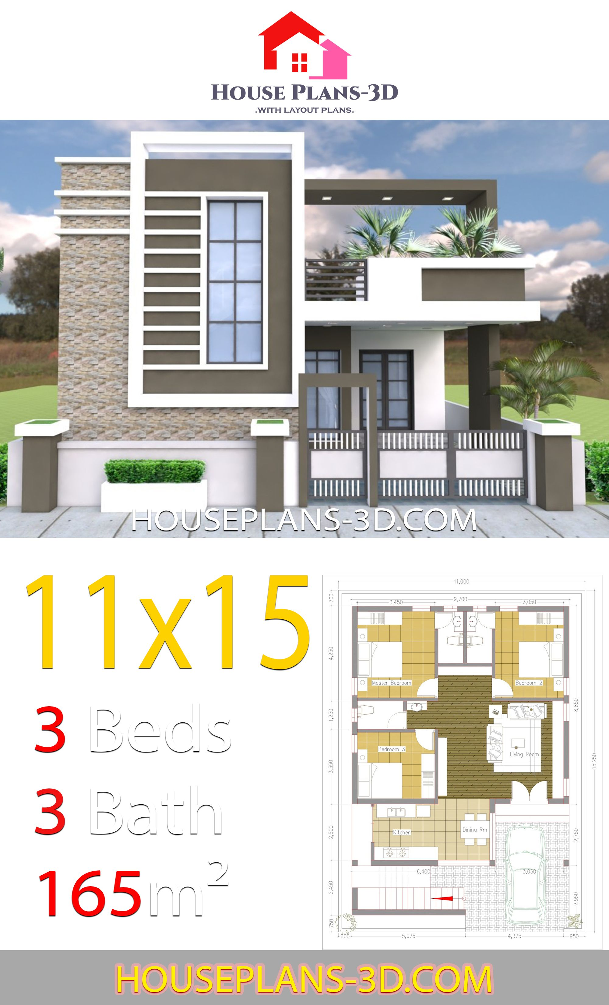 House Design 11x15 With 3 Bedrooms Terrace Roof House Plans 3d Small House Design Architecture House Outside Design Simple House Design