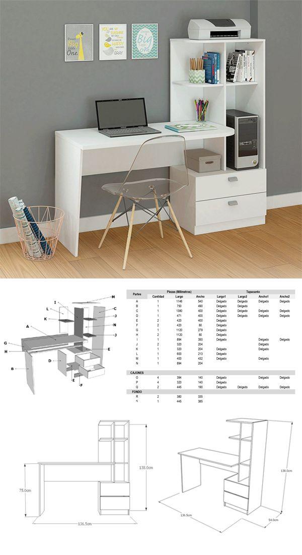 PLANOS DE MUEBLE – Haz tu escritorio librero fácil