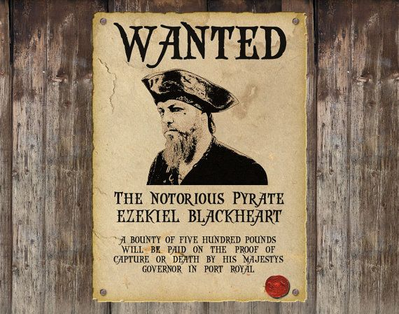 Personalised Pirate Wanted Poster \/ Custom Steampunk Wanted Poster - free printable wanted poster