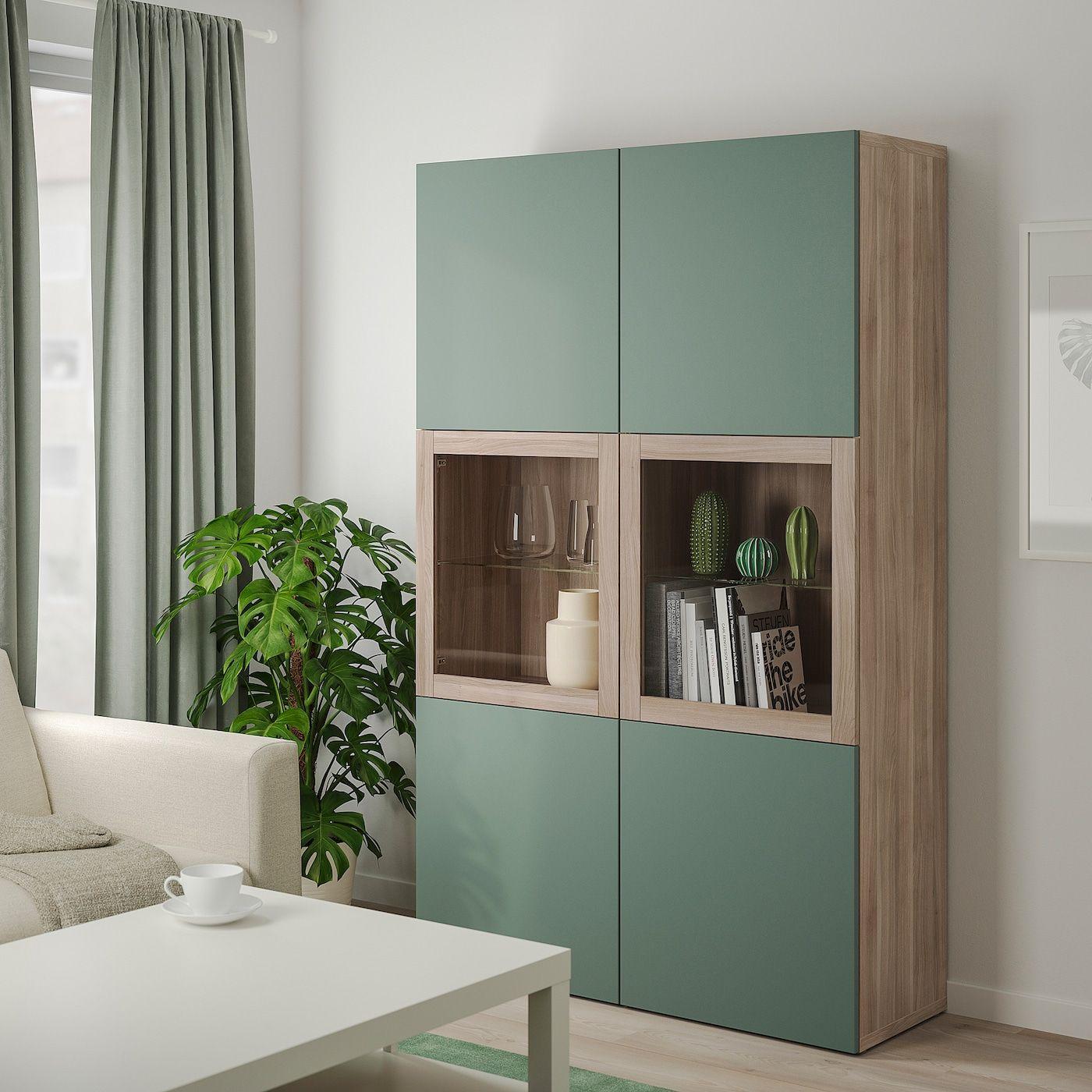 besta storage combination w glass doors