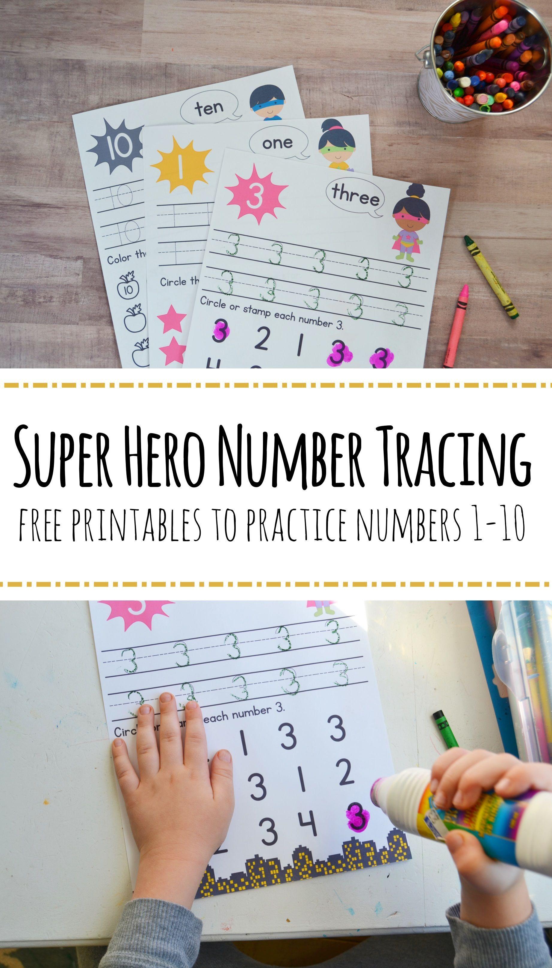 Super Hero Preschool Number Worksheets Numbers 1 10 In