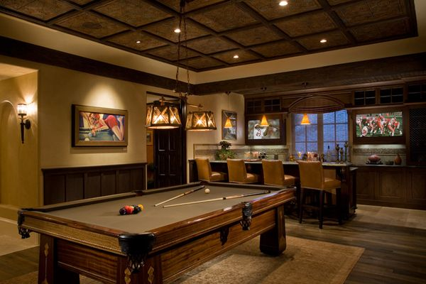 Upscale Sports Lounge W/ Dual TV Screens And Generous Bar   Art Deco  Antique Pool Table