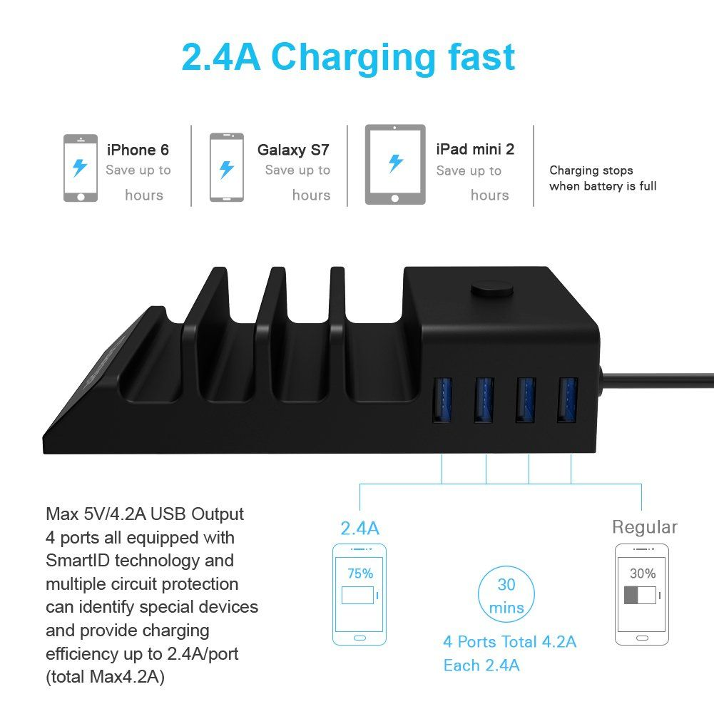usb charging station dock upwade universal 4 ports multi usb port wall charger stand organizer desktop charger hub with 4 cables for iphone ipad smartphones  [ 1001 x 1001 Pixel ]