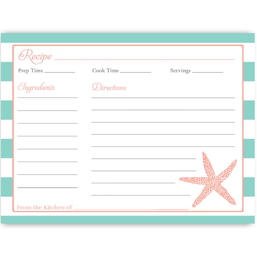 Starfish poem card - Nautical Starfish Aqua And Coral Recipe Card