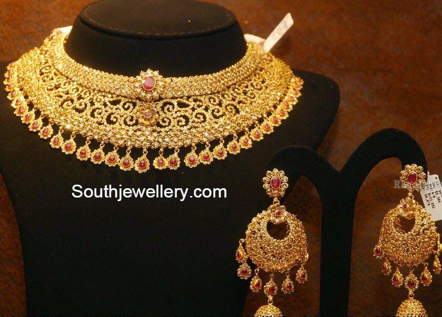19a0408826f660 Broad Uncut Diamond Necklace Set | Jwellery in 2019 | Diamond ...
