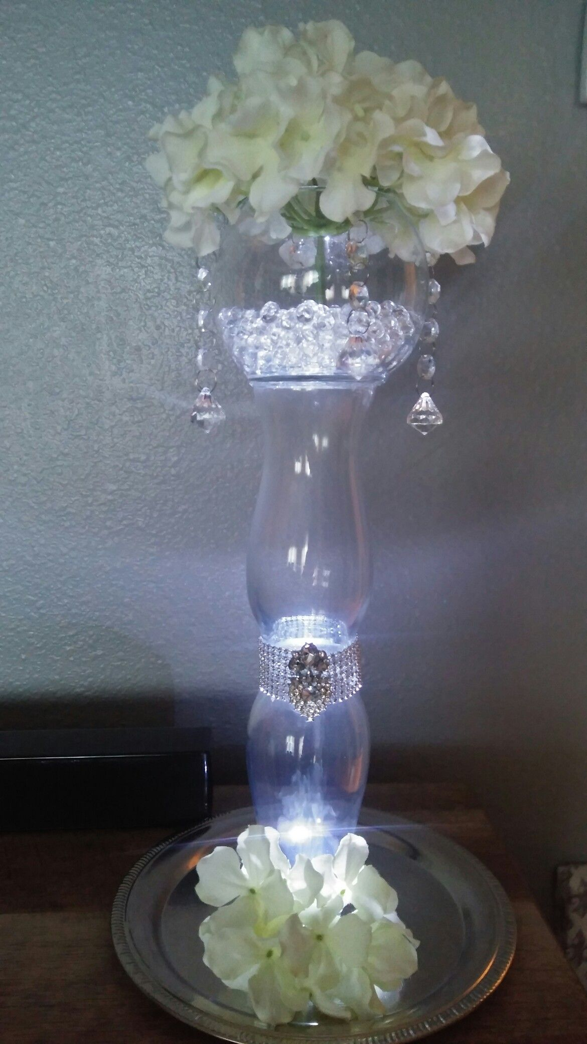 Diy Crystal Centerpiece With 3 Dollar Tree Vases Dollar Tree Vases Crystal Centerpieces Dollar Tree Centerpieces