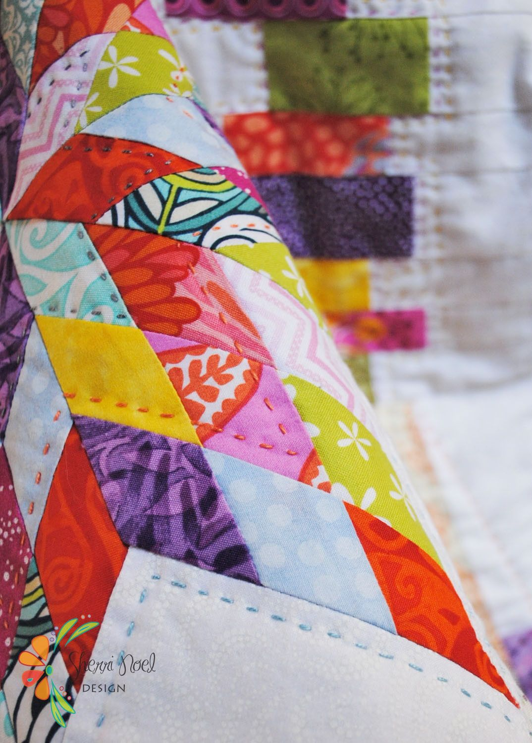 Block of the month scrap happy sampler hand quilting