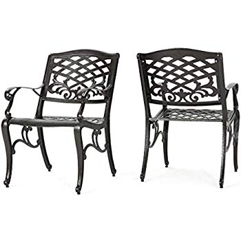 Amazon Com Christopher Knight Home 239073 Deal Furniture Covington Outdoor Cast Aluminum Dining Chair Outdoor Patio Chaise Lounge Furniture Dining Chairs