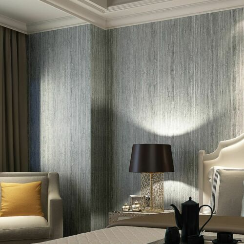 Vinyl Textured Faux Grasscloth Wallpaper Silver Metallic Wall Coverings Ebay Silver Textured Wallpaper Dining Room Wallpaper Wallpaper Walls Bedroom