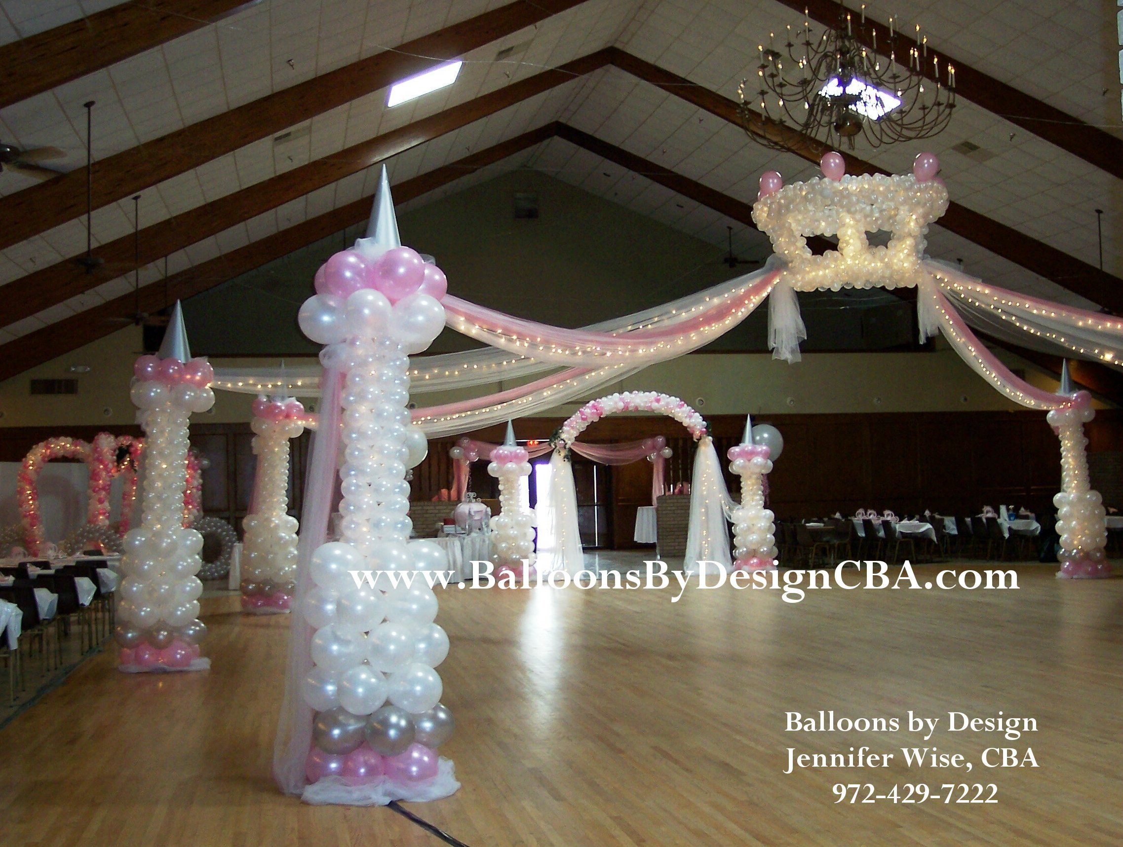 Princess crown castle column dance floor for Balloon decoration ideas for quinceaneras