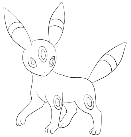 Umbreon Coloring Page From Generation II Pokemon Category