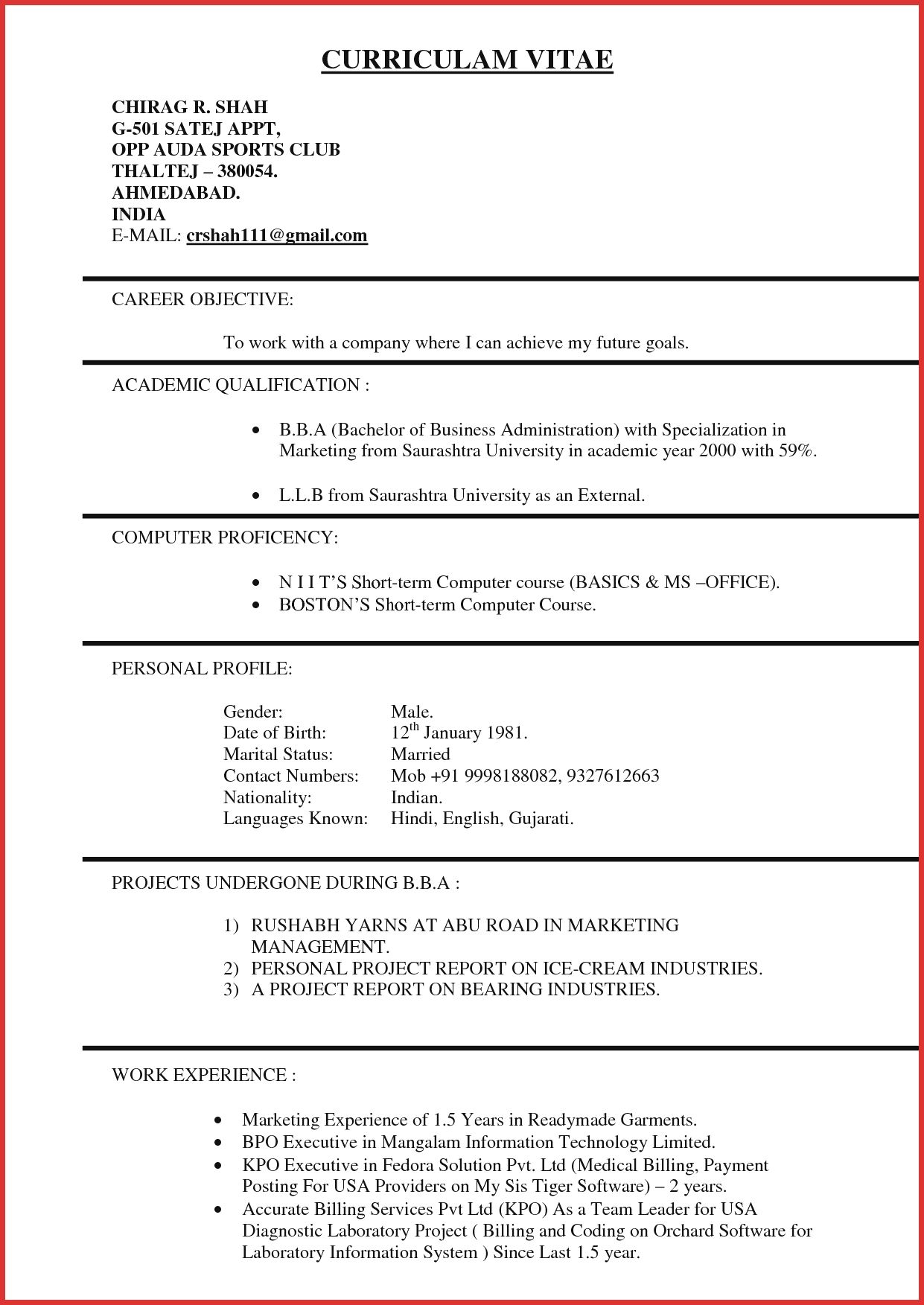 Resume Format Kpo Job resume format, Marketing resume