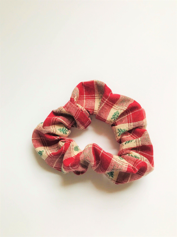 Christmas Scrunchies, Christmas Plaid Hair Ties, Messy Bun Scrunchies, Christmas Tree Plaid Scrunchies, Christmas Hair Ties, Red Scrunchies