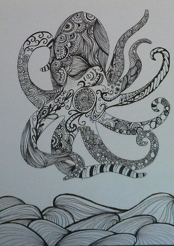Detailed Zentangle Octopus By Collectadoodle On Etsy 20 00 Mandals