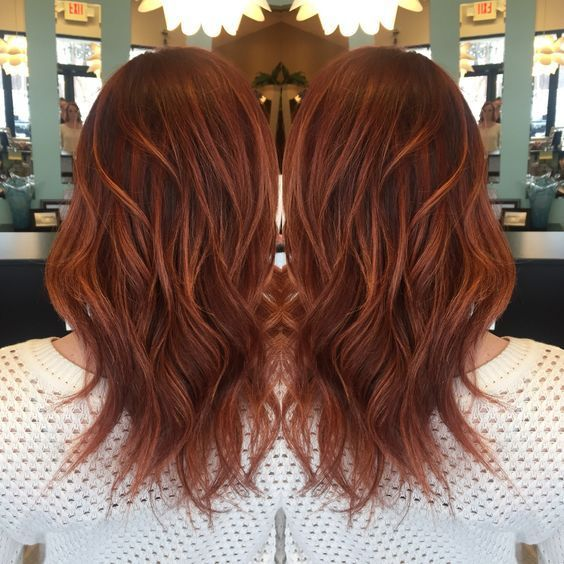 Red base with rich copper balayage highlights❤️ Love my hair:
