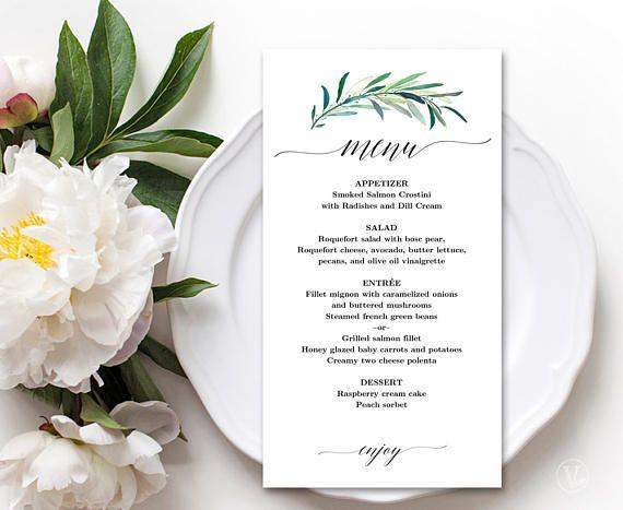 Wedding Menu Template Printable Eucalyptus Greenery Menu