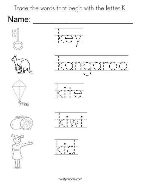 Trace The Words That Begin With The Letter K Coloring Page Letter Worksheets For Preschool English Worksheets For Kids Letter K Words