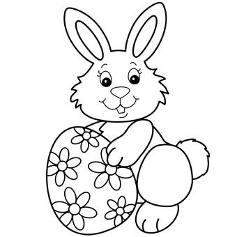 Easter Bunny With Egg Easter Coloring Sheets Easter Bunny
