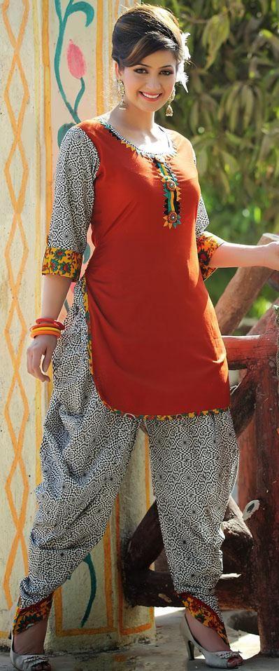 $63.7 Orange Cotton Thread Work Punjabi Style Salwar Suit 25609