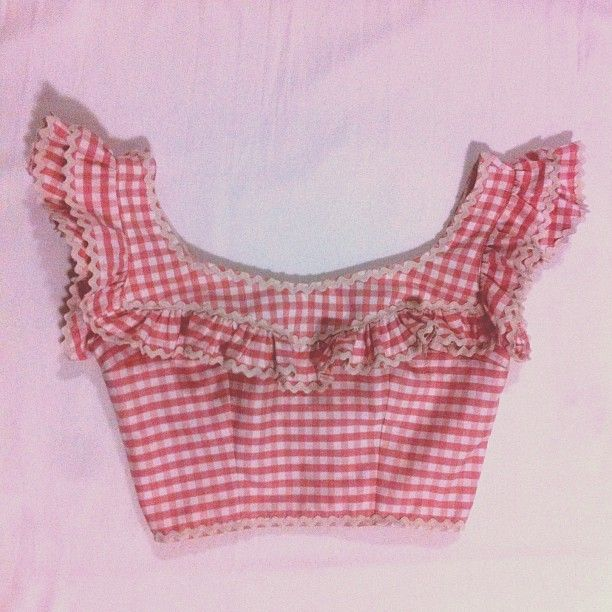 700f155ddf78 Red Gingham Frill Crop Top