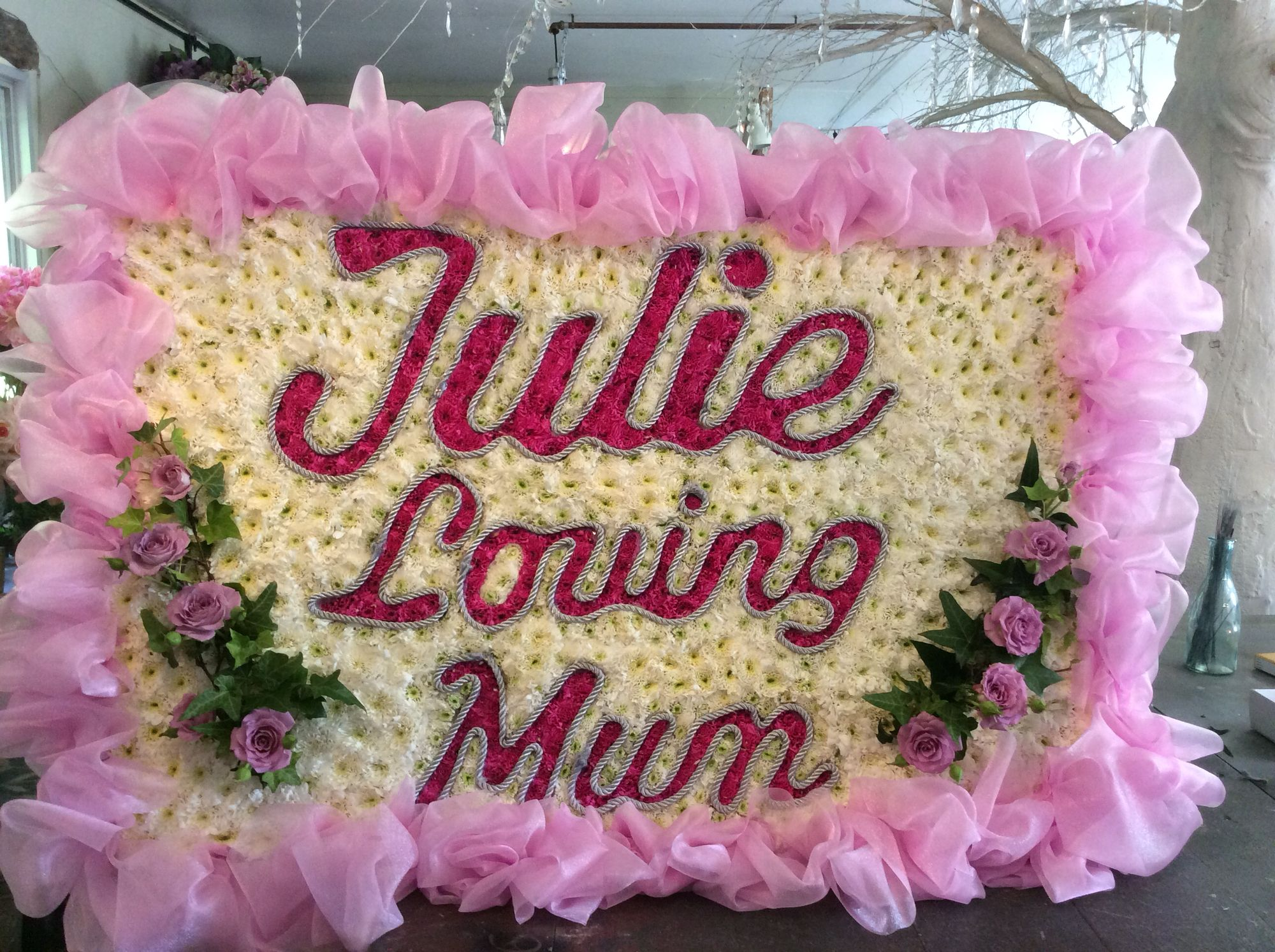 Bespoke funeral word tribute pink letters pink roses pink chiffon bespoke funeral word tribute pink letters pink roses pink chiffon izmirmasajfo Image collections