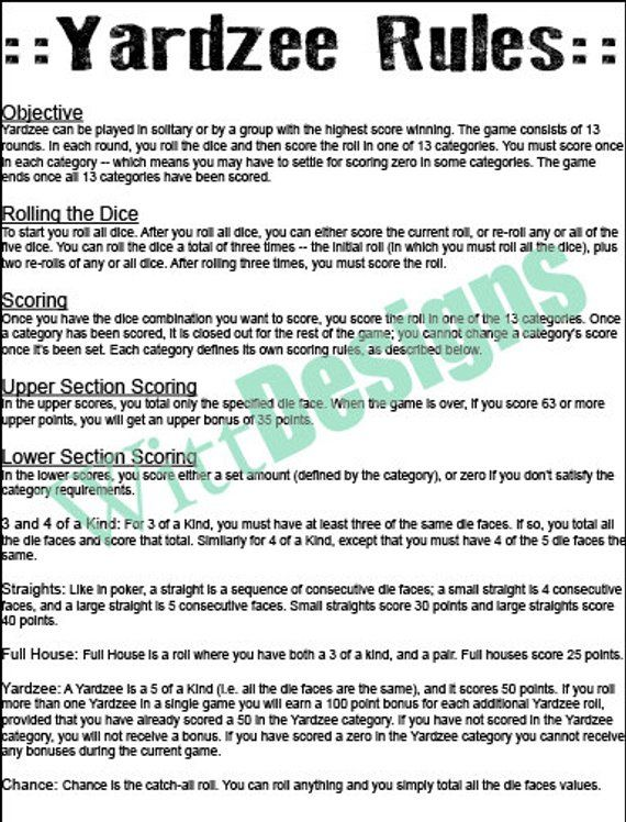 image about Yardzee Rules Printable named PDF 11x17 Yardzee legal guidelines - print your personal - fast down load