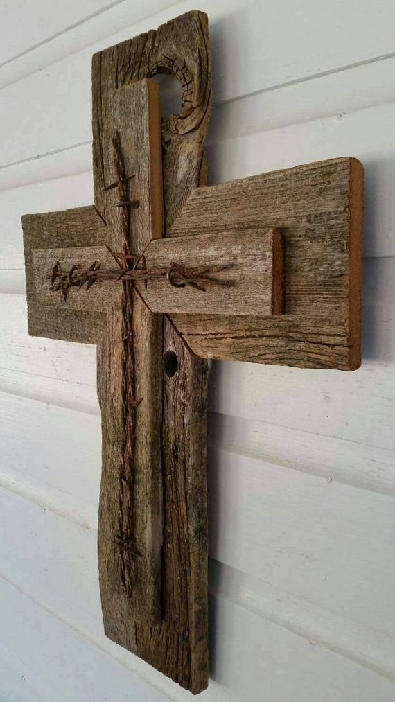 Barbed Wire Rustic Cedar Wood Wall Cross Decor Barbed Wire ...