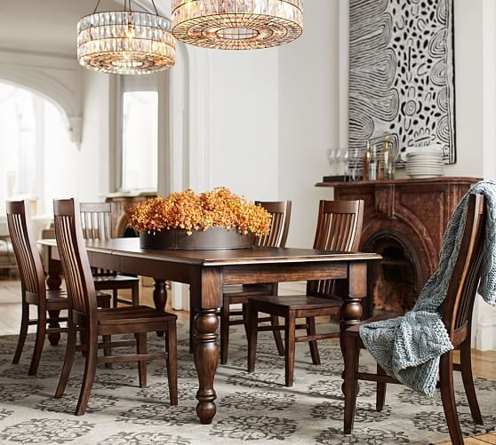 pottery barn dining room sets | Evelyn Extending Dining Table & Trieste Chair 7-Piece ...