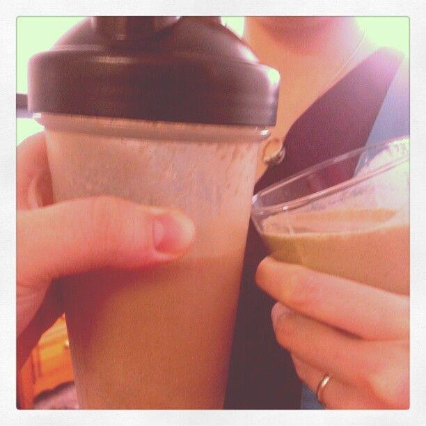 Cheers! Yummy chocolate and greenberry Shakeology!