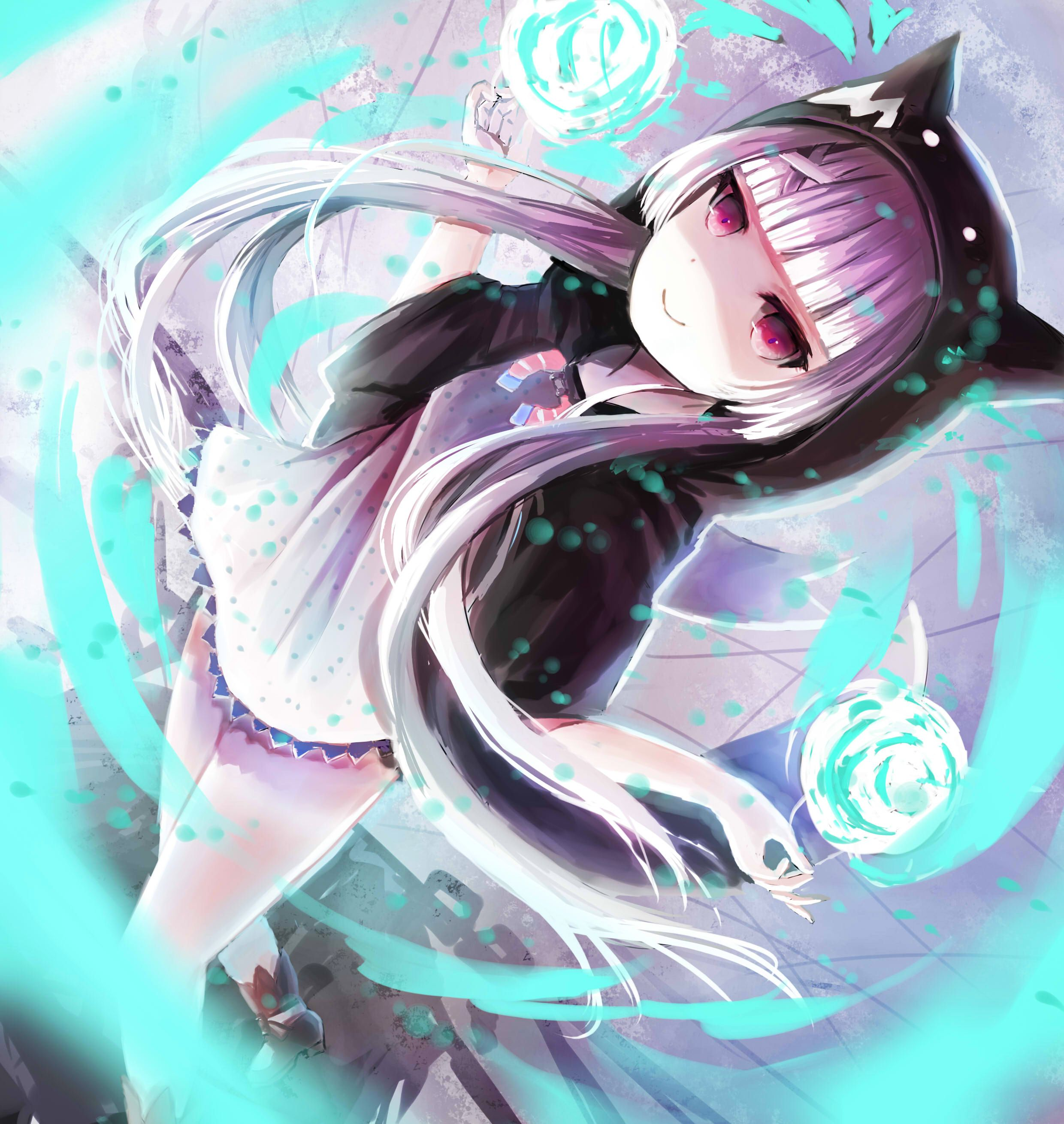 Anime girl neko with purple hair, red eyes, twin tails ...