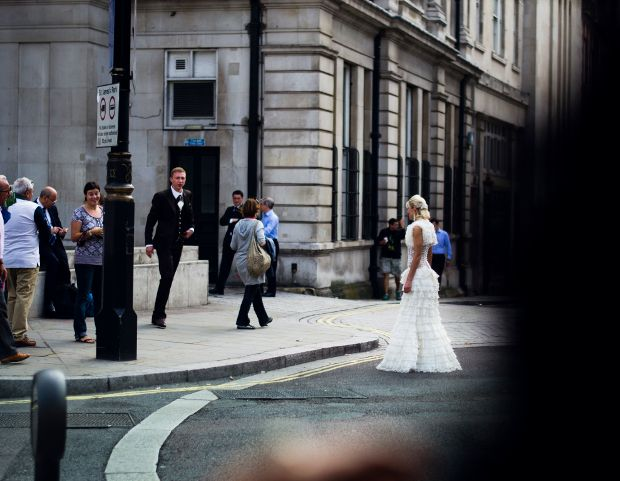 Corset wedding gown on the strand in #London photo Chasenwest.com