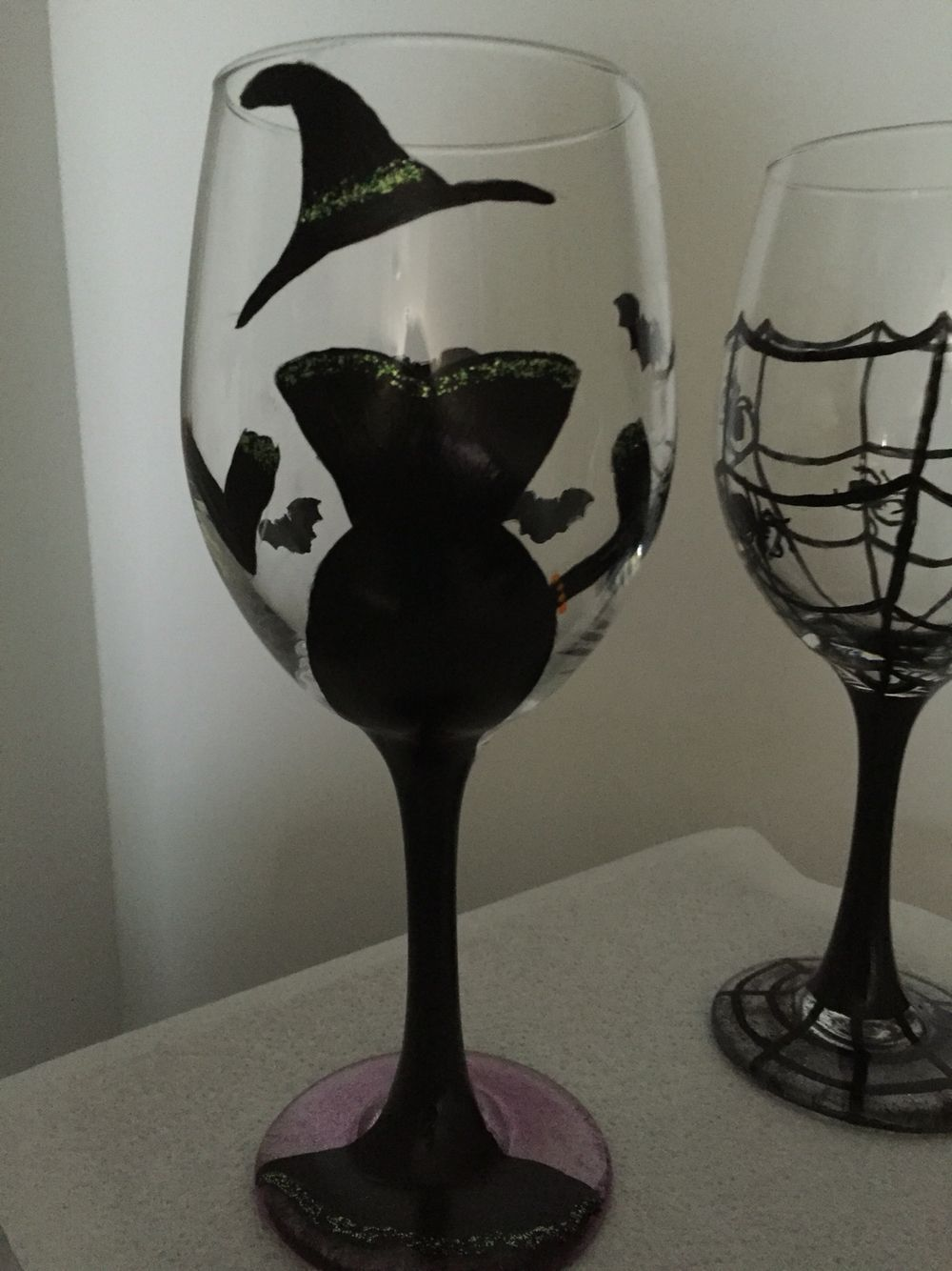 Drink up, witches!  Halloween Diva hand painted wine glass