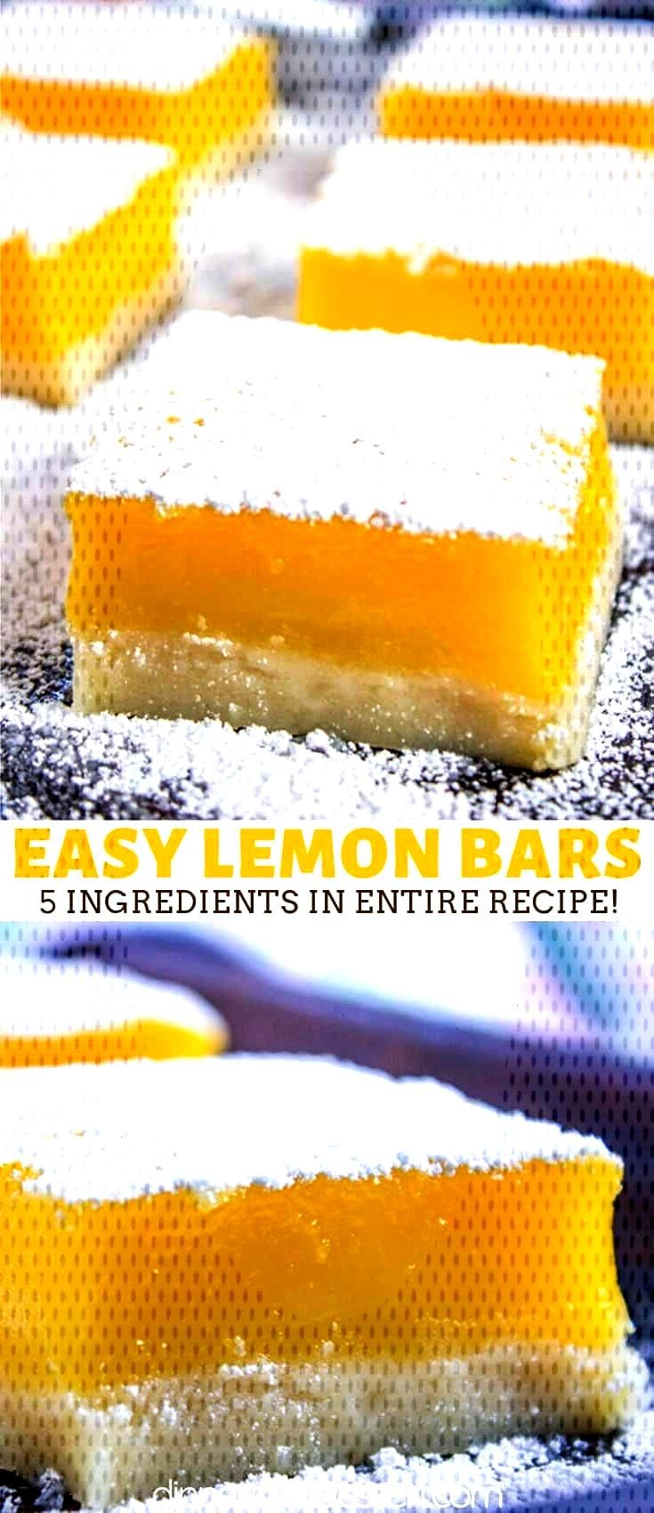 Lemon Bars have a buttery shortbread crust, a tangy lemon curd filling and just 5 ingredients in th