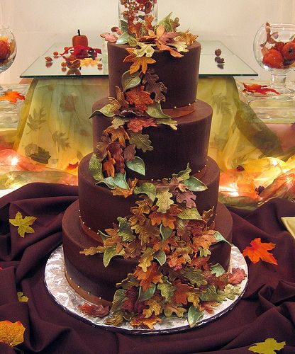 Chocolate with fall leaves