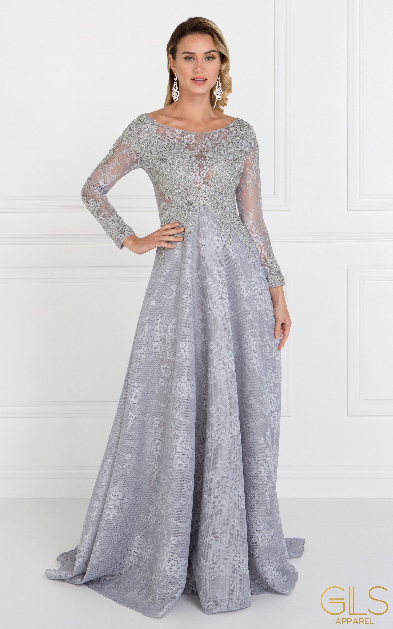 Long Silver Lace Dress With Lace Sleeves By Elizabeth K Gl1537 Long Sleeve Lace Evening Dress Lace Evening Dresses Dresses