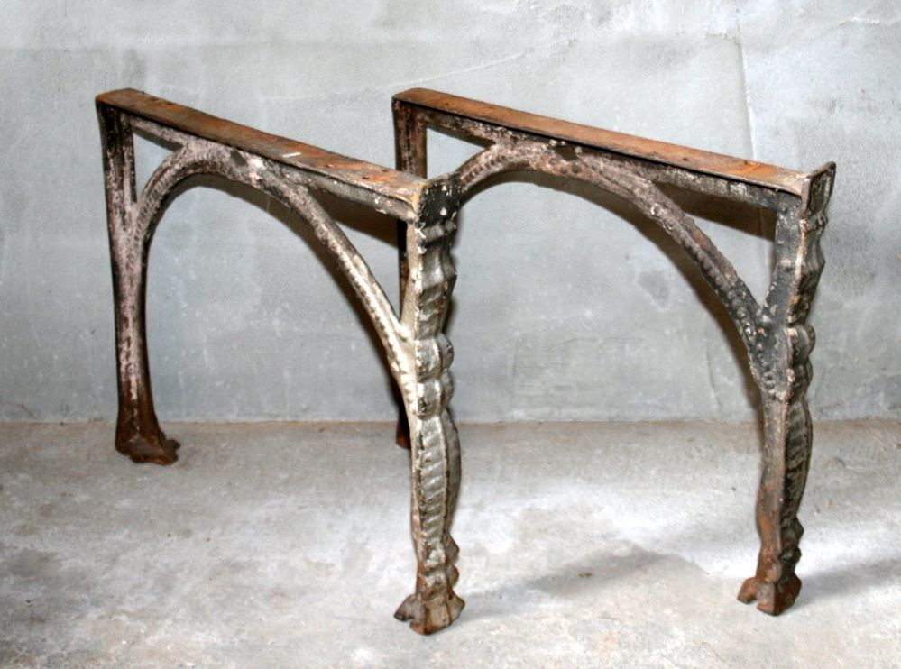 Vintage Antique Industrial Legs Machine Age Old Cast Iron Table Bench Base Stand Office