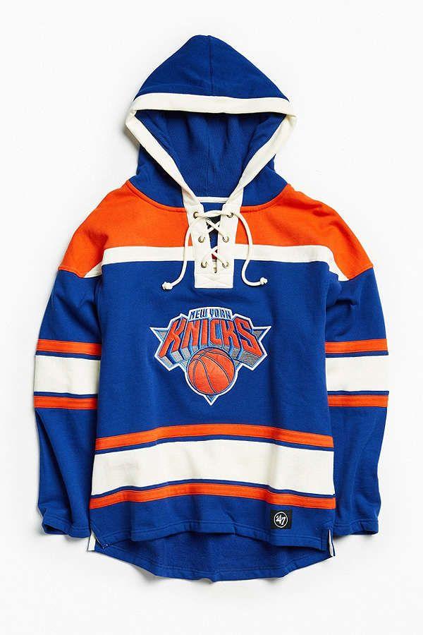 47 Brand New York Knicks Lacer Hoodie Sweatshirt Sweatshirts Hoodie 47 Brand New York Knicks Logo