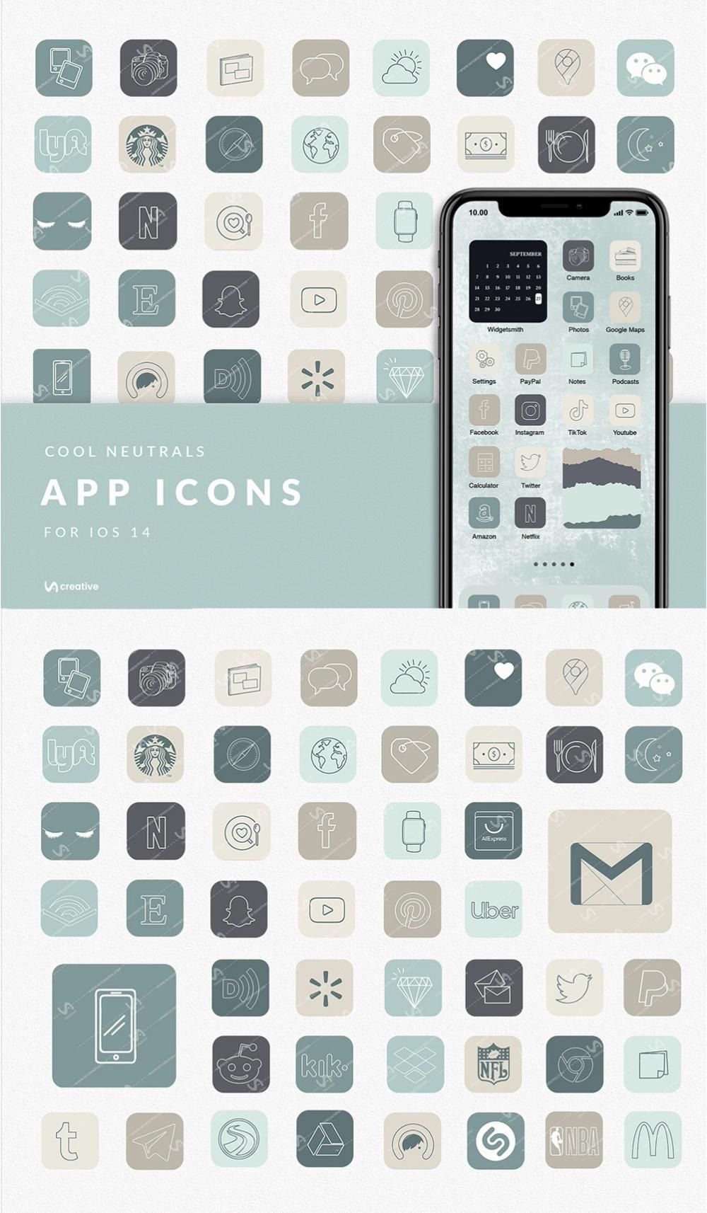 APP ICONS Cool Neutral Aesthetic 127 icons ios14,