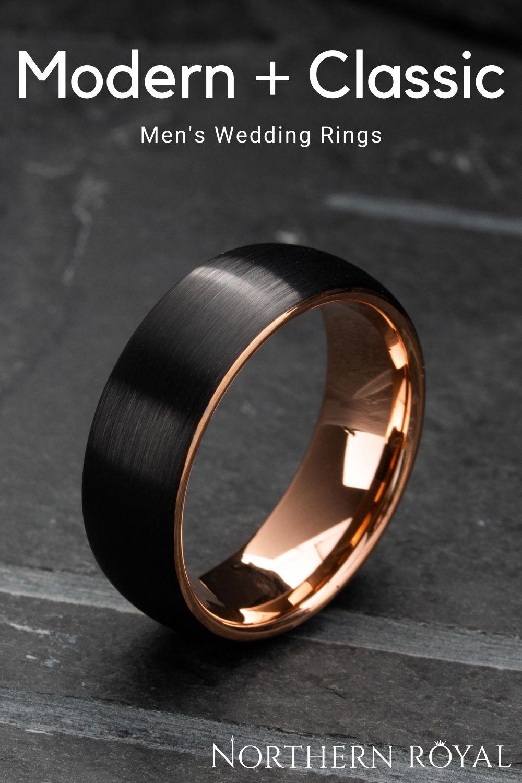 Men's Black and Rose Gold Wedding Ring in 2020 Mens