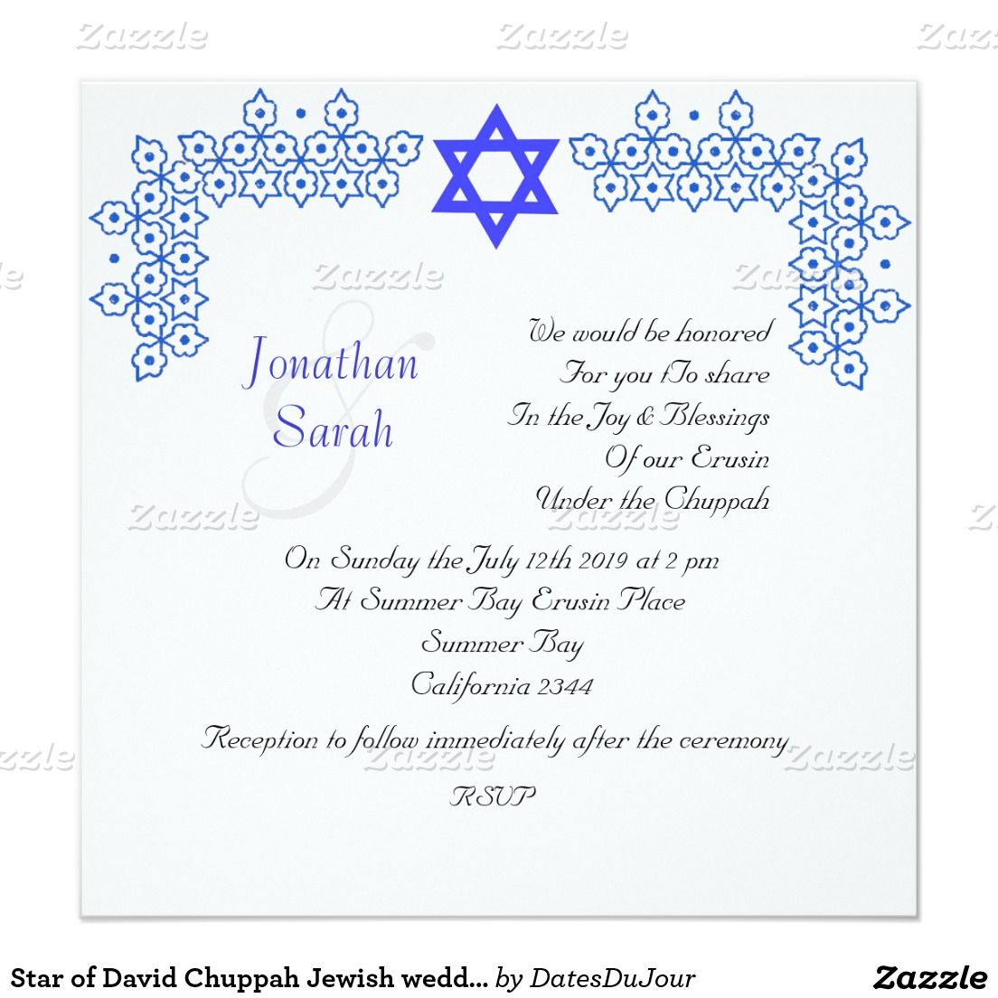 Star of David Chuppah Jewish wedding Card | Chuppah, Wedding card ...