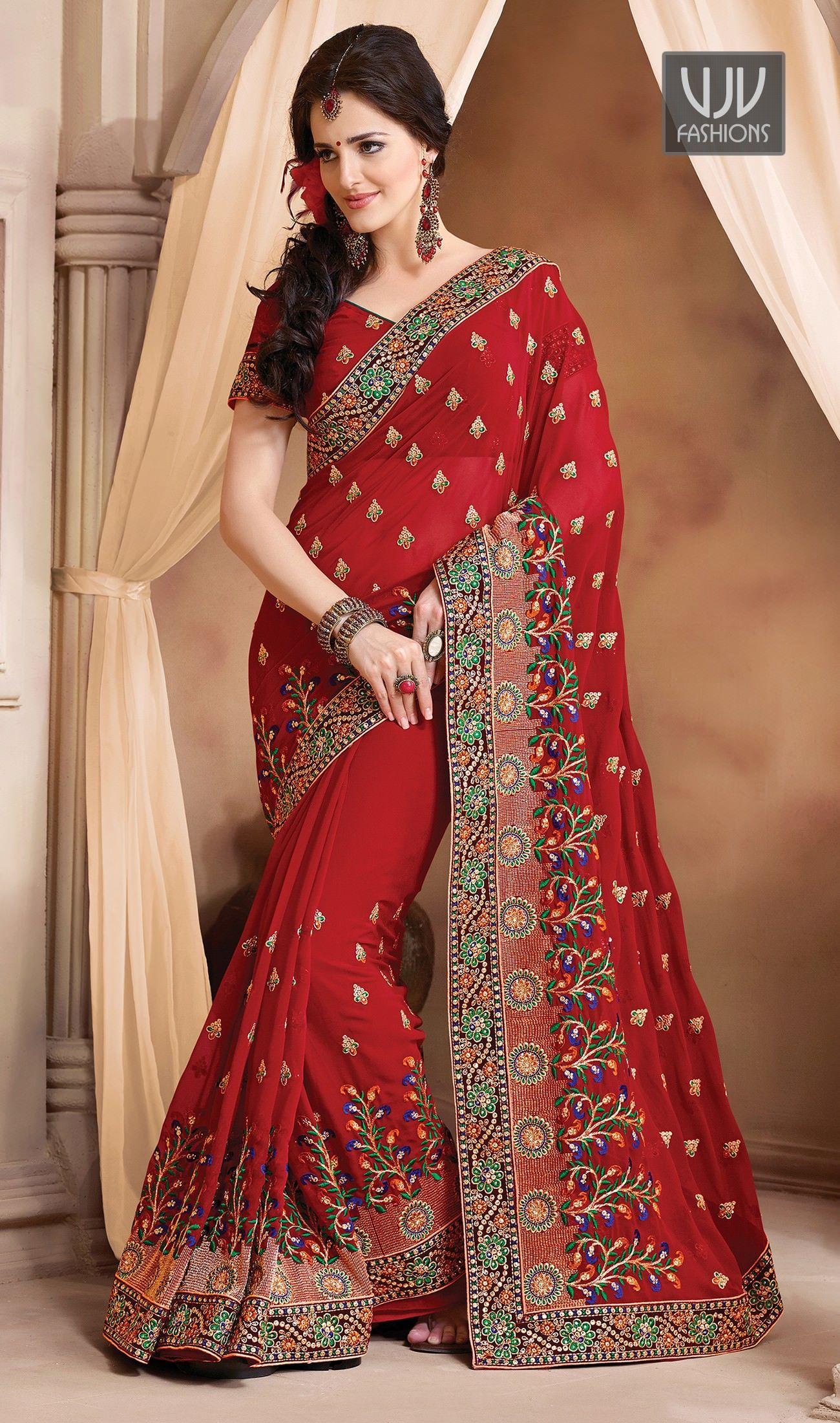 1af850f6d2 Red wedding saree by VJV Fashions. #weddingsaree #bridalsaree #bridalwear # bridalcollection #wedding #marriage #bride #brides #bridetobe #bridal
