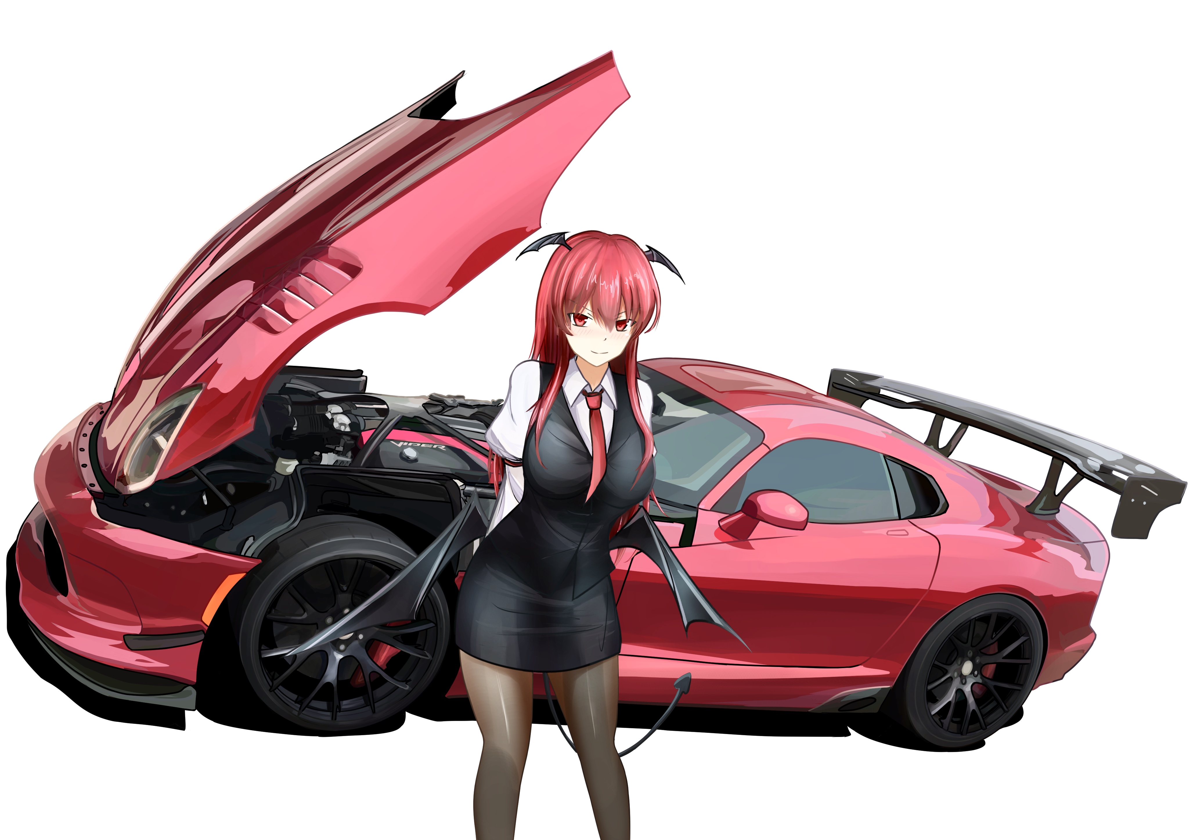 1girl 3books Absurdres Armband Arms Behind Back Bat Wings Black Legwear Breasts Car Commentary Request Cowboy Shot D Anime Motorcycle Art Cars Car Drawings