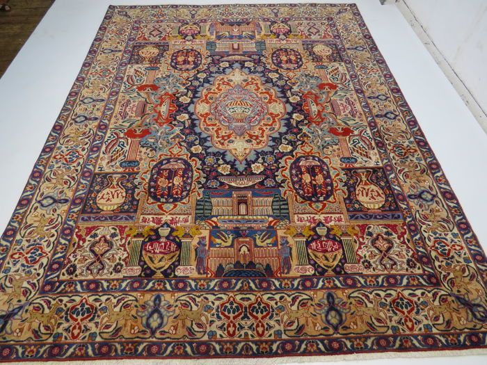Wonderfully beautiful Persian carpet with illustrations Kashmar, Iran, 374 x 285 cm, end of the 20th century. TOP ORGANIC CLEAN – with silk shine – oriental carpet, fine, TOP QUALITY