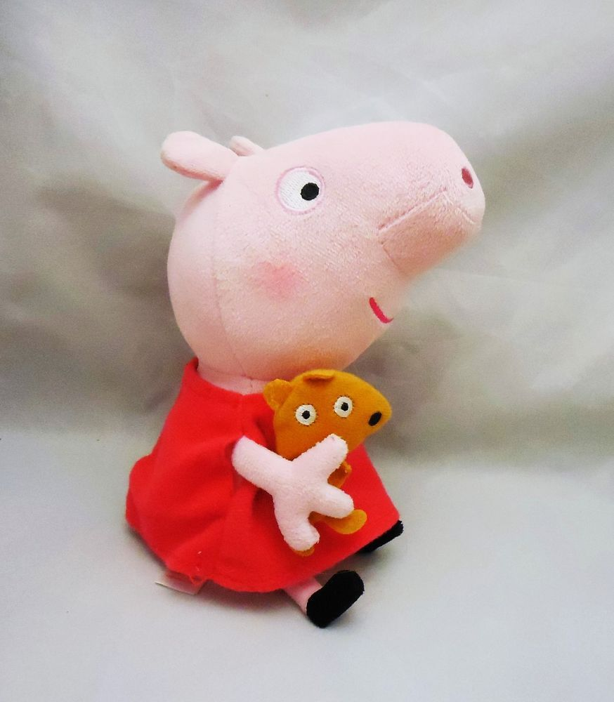 Current Humorous Ty Beanie Babies Peppa Pig With Teddy Bear Stuffed Plush Animal