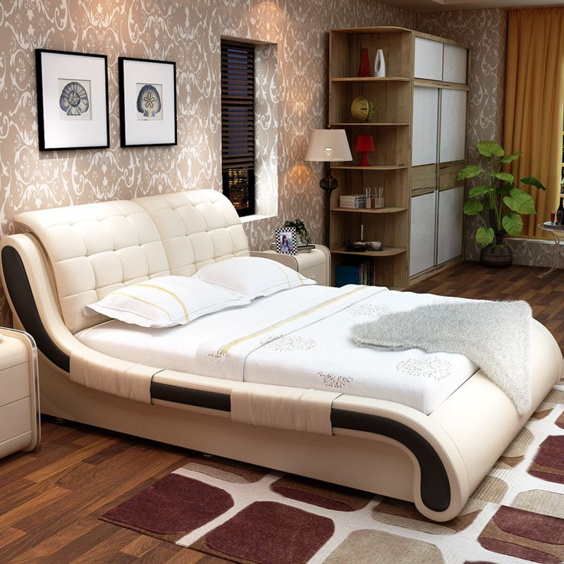Bedroom Furniture Set Modern Leather Bed (1 Bed, 2 Night Stand & 1 ...