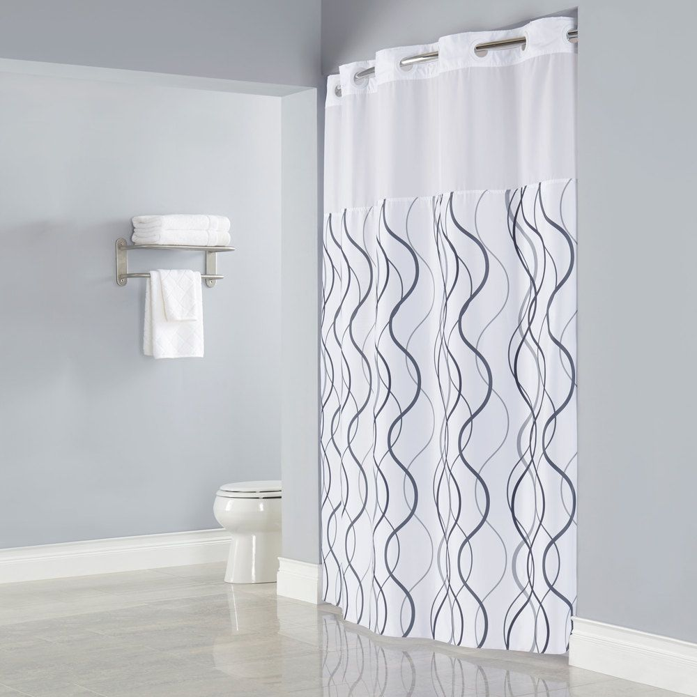 Bathroom window curtains with matching shower curtain - Hookless White With Gray Waves Shower Curtain With Matching Flat Flex On Rings It S A Snap Polyester Liner With Magnets And Poly Voile Translucent Window
