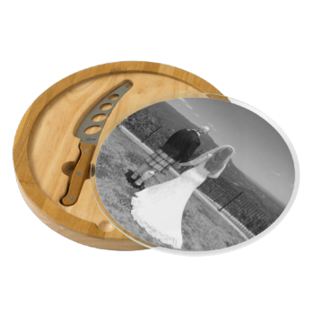 Add your wedding photograph to this beautiful cheese board. What a great wedding keepsake. Great gift for the lovely couple, the bride or the groom or parents of the bride and groom. This placeholder photo features a groom wearing and Irish kilt and the bride wearing a traditional wedding dress taken in the Great Smoky Mountains National Park. Email me @ support@tlcgraphix if you need assistance customizing this board. A high resolution photo will work best to give you beautiful results. You…