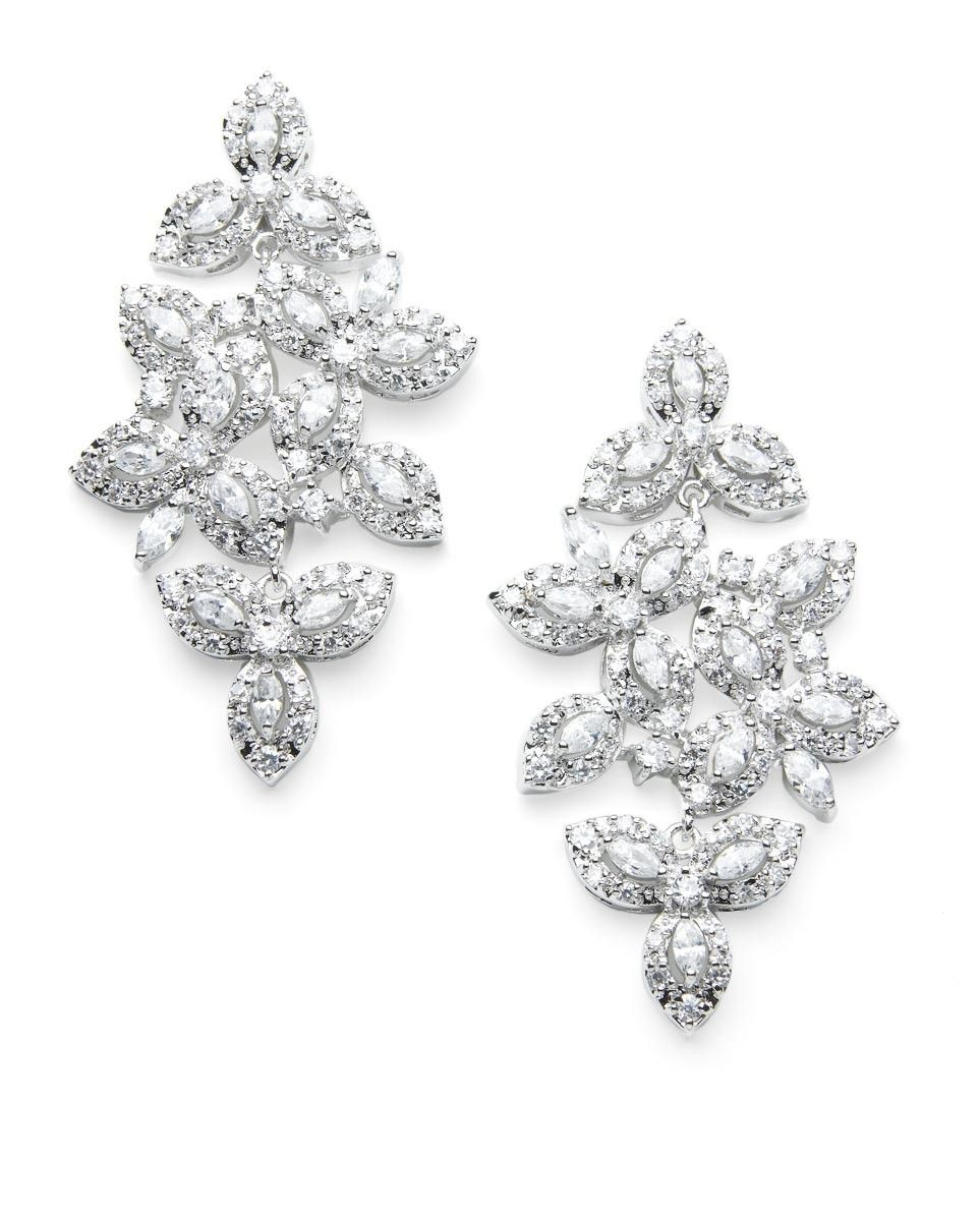 Marquis shaped cubic zirconia are set among pave style